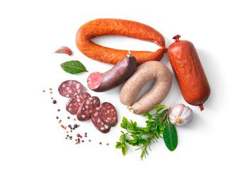 Assortment of german homemade sausage specialties