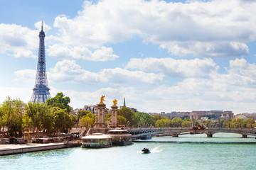Bridge Pont Alexandre III and Eifel tower, Paris