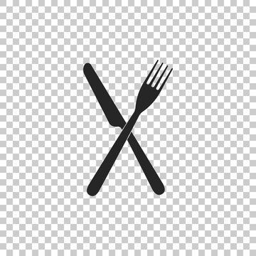 Crossed fork and knife icon isolated on transparent background. Restaurant icon. Flat design. Vector Illustration