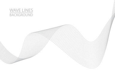 Abstract wave lines on white background. Can be used presentation, poster. Vector illustration. Wall mural