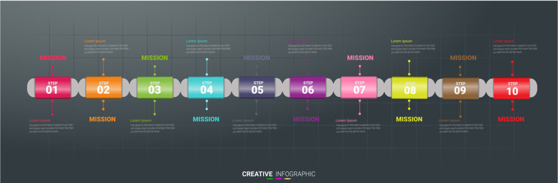 Presentation business infographic template, Abstract infographics number options template with 10 steps. Vector illustration.