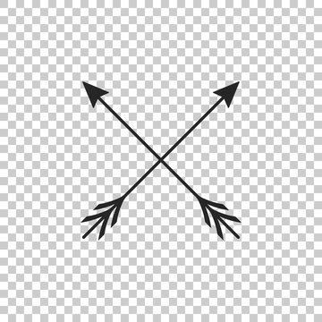 Crossed arrows icon isolated on transparent background. Flat design. Vector Illustration