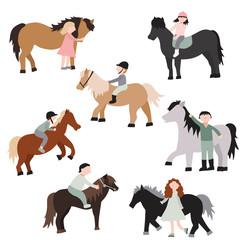 Cartoon Characters Kids Riding Ponies Set. Vector