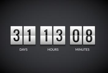 Clock counter countdown flip scoreboard vector timer. Count number display watch flat clock
