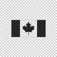 Canada flag icon isolated on transparent background. Flat design. Vector Illustration
