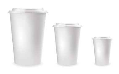 Realistic white plastic cups for cold and hot drinks.