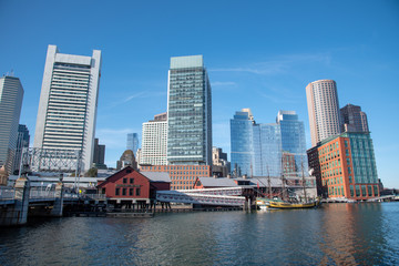 Boston financial district skyline from the Harborwalk