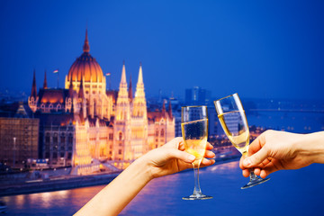 Budapest Hungary view with glasses of champagne