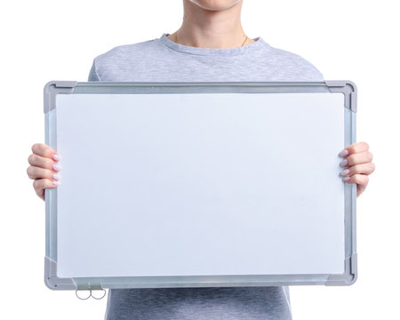 Marker whiteboard in woman hand on white background isolation