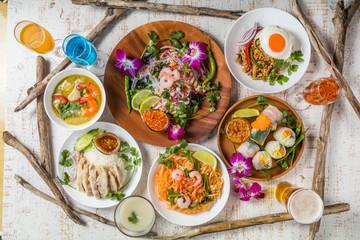 Fototapeta 代表的なタイ料理 typical Southeast Asian cuisine obraz