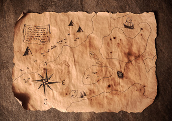 old map on stone, table of pirate, map of treasures,