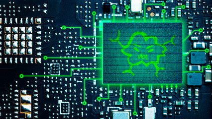 Computer virus icon, circuit board background