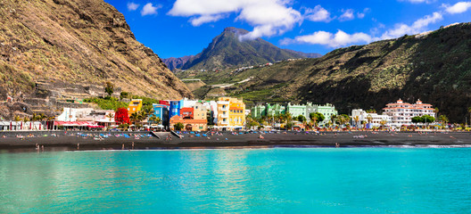 Natural beauty of Canary islands - La Palma, Puerto de Tazacorte with turquoise sea Wall mural