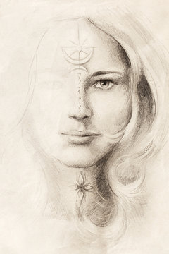 mystical woman portrait drawing with symbols, emerging from light.
