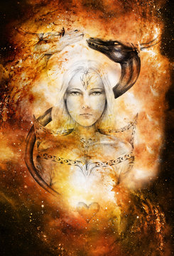 drawing of mystical young woman in historic dress with two dragon heads above her. Cosmic space,
