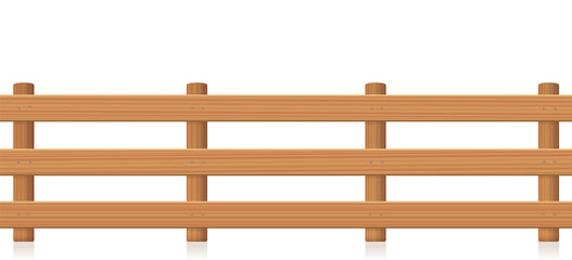 Pasture fence, wooden texture. Isolated vector illustration on white background.