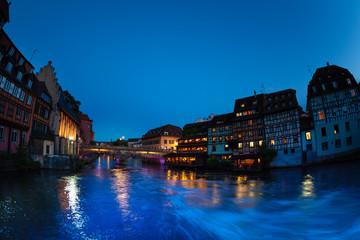 Ill river Embankment during sunset in Strasbourg