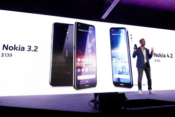 HMD Global Product Officer Juho Sarvikas, presents the new Nokia 3.2 and Nokia 4.2 during the Mobile World Congress in Barcelona