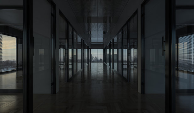 Offices with Glass Partitions in Dim Daylight 3D Rendering