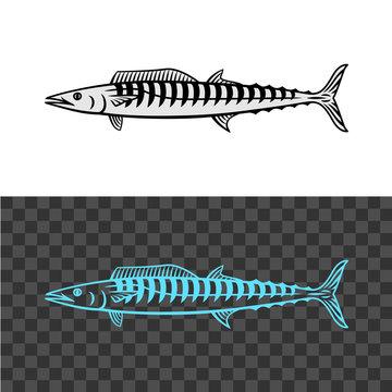 Wahoo fish illustration. King mackerel black sign.