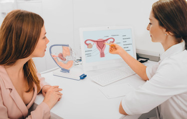 gynecologist communicates with her patient, pointing to the structure of the uterus, on her comput...