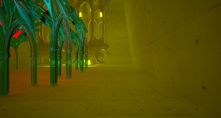 Abstract  Concrete Futuristic Sci-Fi Gothic interior With Yellow And Red Glowing Neon Tubes . 3D illustration and rendering.
