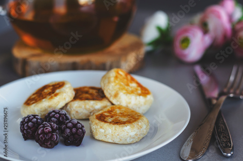 Cheesecakes From Cottage Cheese With Blackberries For Healthy