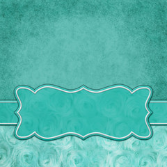Teal square border with rose plush fabric with copy space