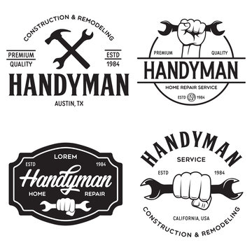 Handyman labels badges emblems and design elements. Tools silhouettes. Carpentry related vector vintage illustration.