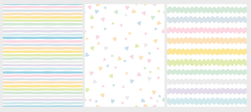 Set of 3 Cute Abstract Geometric Vector Patterns. Light Multicolor Design. Stripes, Triangles and Waves. White Background. Irregular Infantile Style Waves. Blue, Pink, Yellow, Green and White Design.