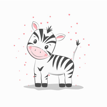 Cute vector illustration with zebra baby for baby wear and invitation card.