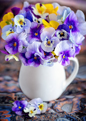 Papiers peints Pansies Photo of a beautiful purple pansy flowers close-up in a mug on a colorful background. Beautiful and delicate flowers.