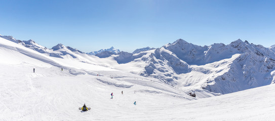 Wall Mural - Panorama view from ski slope Elbrus, Russia