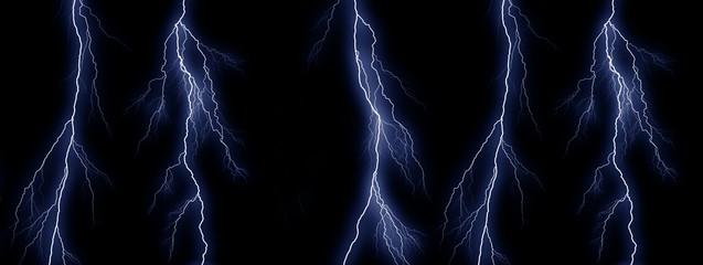 Five Blue lightning bolts on black background