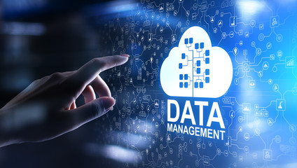 Data management system, cloud technology, Internet and business concept. Wall mural