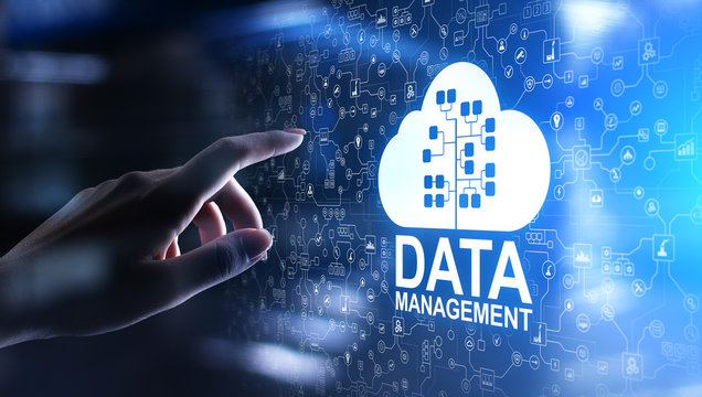 Data management system, cloud technology, Internet and business concept.