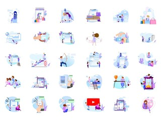 Big collection of people scenes, flat style illustration. Concept design.