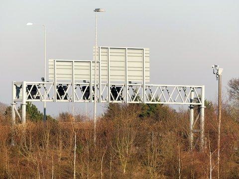 M25 Motorway gantry, Hertfordshire, England, UK