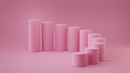 Empty pastel pink steps cylinder on background. 3D rendering.