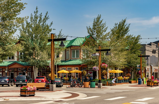 Main Street, Downtown Frisco, Colorado. A quaint and popular ski resort town in summertime.