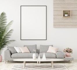 Mock-up frame in interior background,Scandinavian style, 3d render