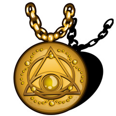 Magic round golden pendant with the image of the eye in the triangle isolated on white background. Vector cartoon close-up illustration.