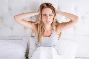 Young White Woman With Insomnia Head Migraine Headache : Bad Sleep Problem Concept