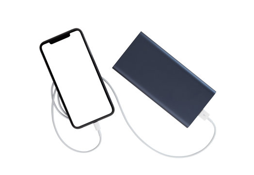 Power bank and smartphone on white background. The smartphone is charging from the power bank.