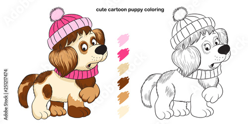 Cute cartoon puppy coloring book for kids creativity.\