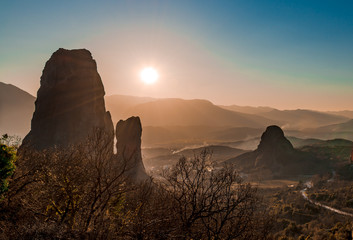 Landscape of Meteora, a rock formation in central Greece, hosting one of the largest and most precipitously built complexes of Eastern Orthodox monasteries, second in importance only to Mount Athos.