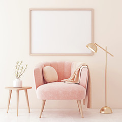 Poster mock up with horizontal frame on empty beige wall in living room interior with pastel coral pink armchair, lamp and plant on table. 3D rendering.