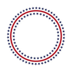 USA star vector pattern round frame. American patriotic circle border with stars and stripes pattern.
