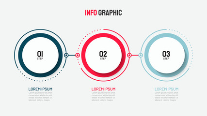 Timeline infographic design with circle for business template. Vector 3 steps.