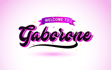 Gaborone Welcome to Creative Text Handwritten Font with Purple Pink Colors Design.